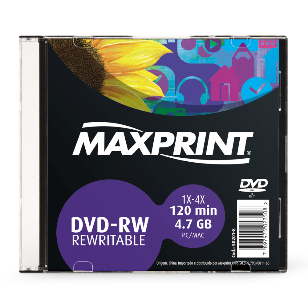 DVD-RW Maxprint 4.7GB 1X-4X 120Min Regravável Slim 50201-8