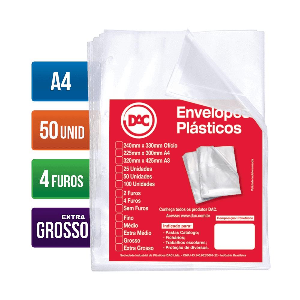 Envelope Plástico A4 4 Furos Extra Grosso 50 Unidades 5088A4-50 Dac