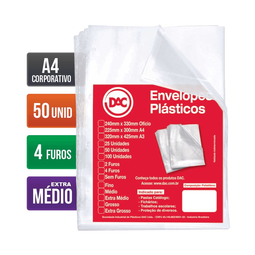 Envelope Plástico A4 4 Furos Extra Médio 100 Unidades 5178A4-100 Dac