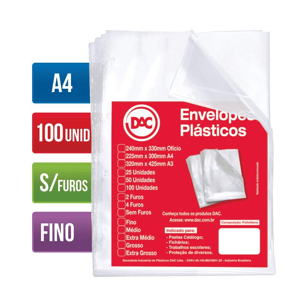 Envelope Plástico A4 Sem Furos Fino 100 Unidades 5069A4-100 Dac
