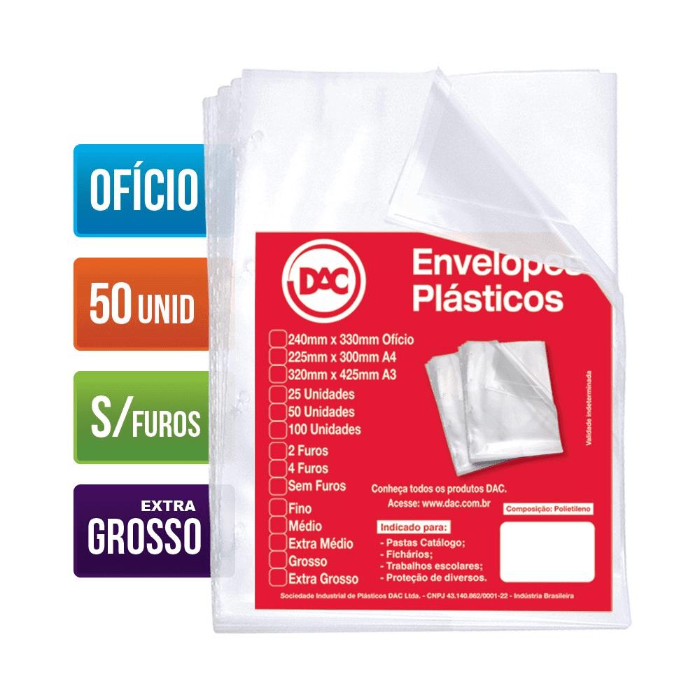 Envelope Plástico Ofício 4 Furos Extra Grosso 50 Unidades 5088-50 Dac