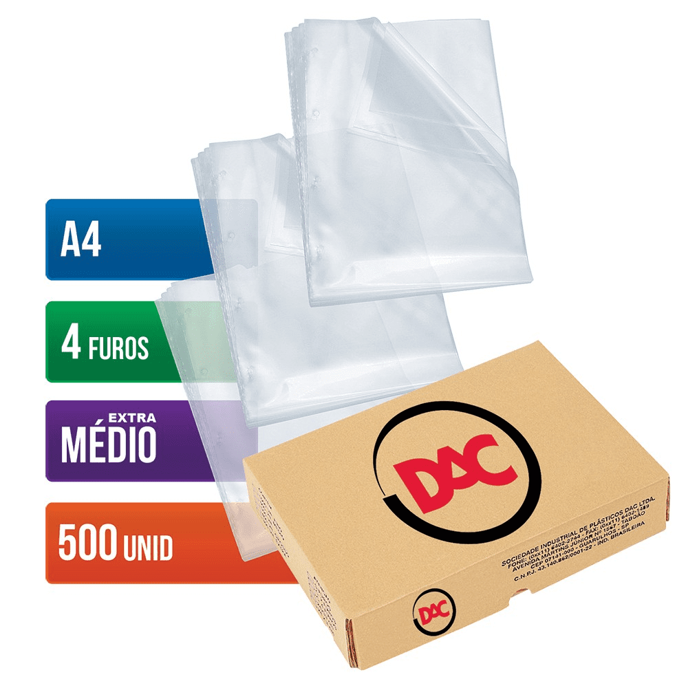 Envelope Plástico Ofício 4 Furos Extra Médio 500 Unidades 178 Dac