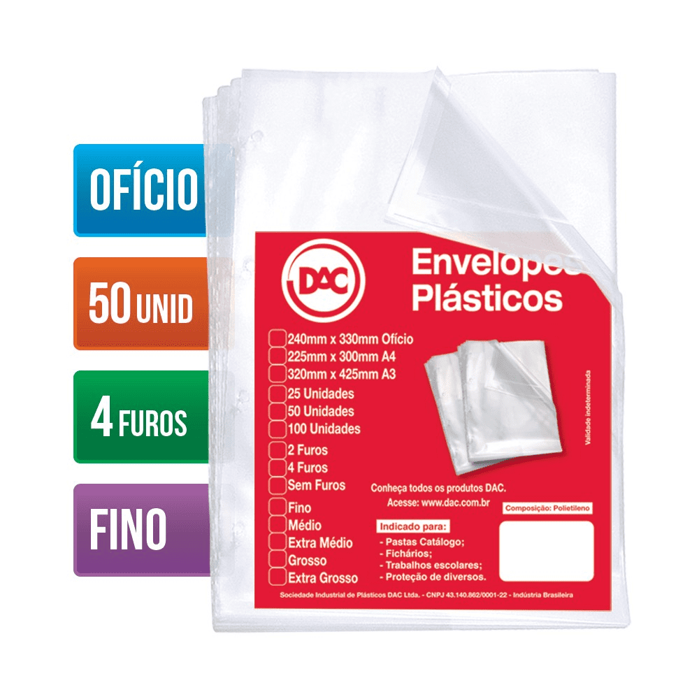 Envelope Plástico Ofício 4 Furos Fino 50 Unidades 5070-50 Dac