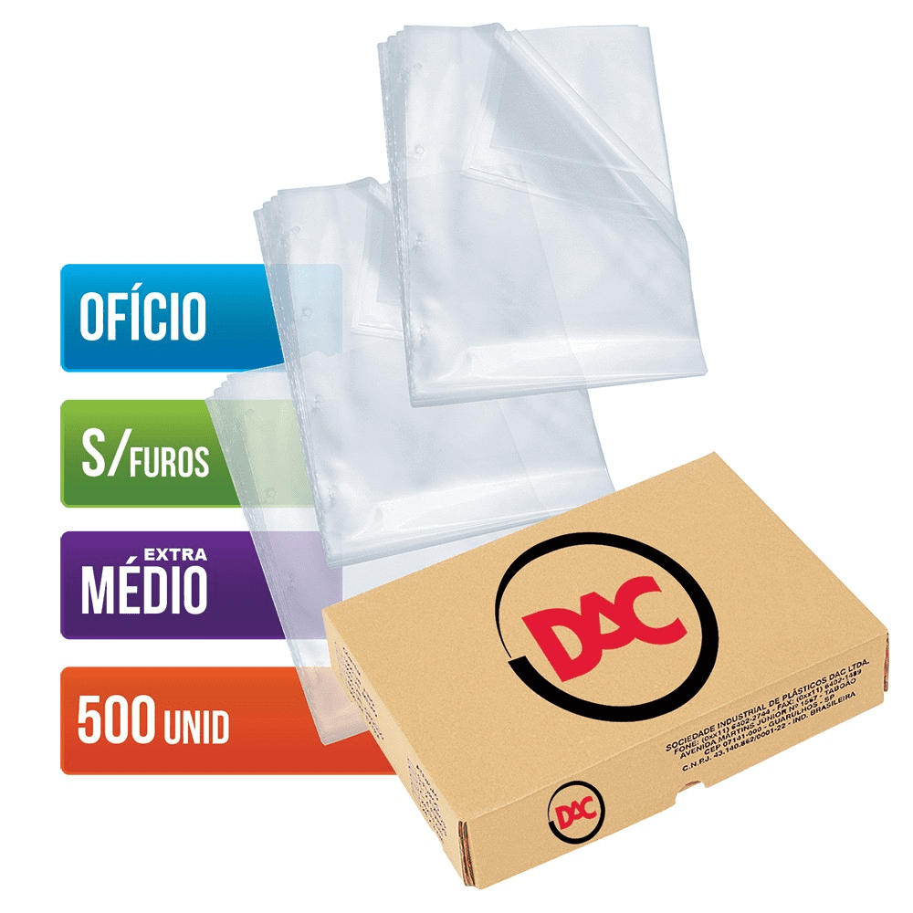 Envelope Plástico Ofício Sem Furos Extra Médio 500 Unidades 177 Dac