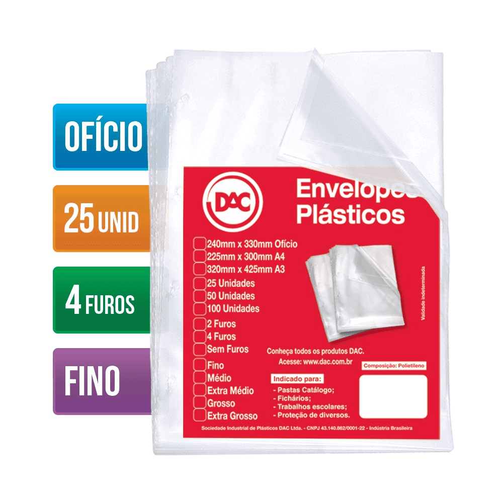 Envelope Plástico Ofício 4 Furos Fino 25 Unidades 5070-25 Dac