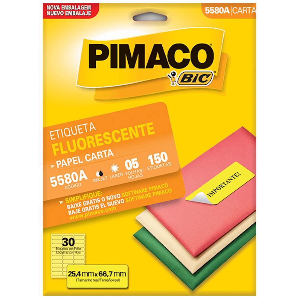 Etiqueta Pimaco 5580A Amarelo Fluorescente 25,4x66,7mm 150un