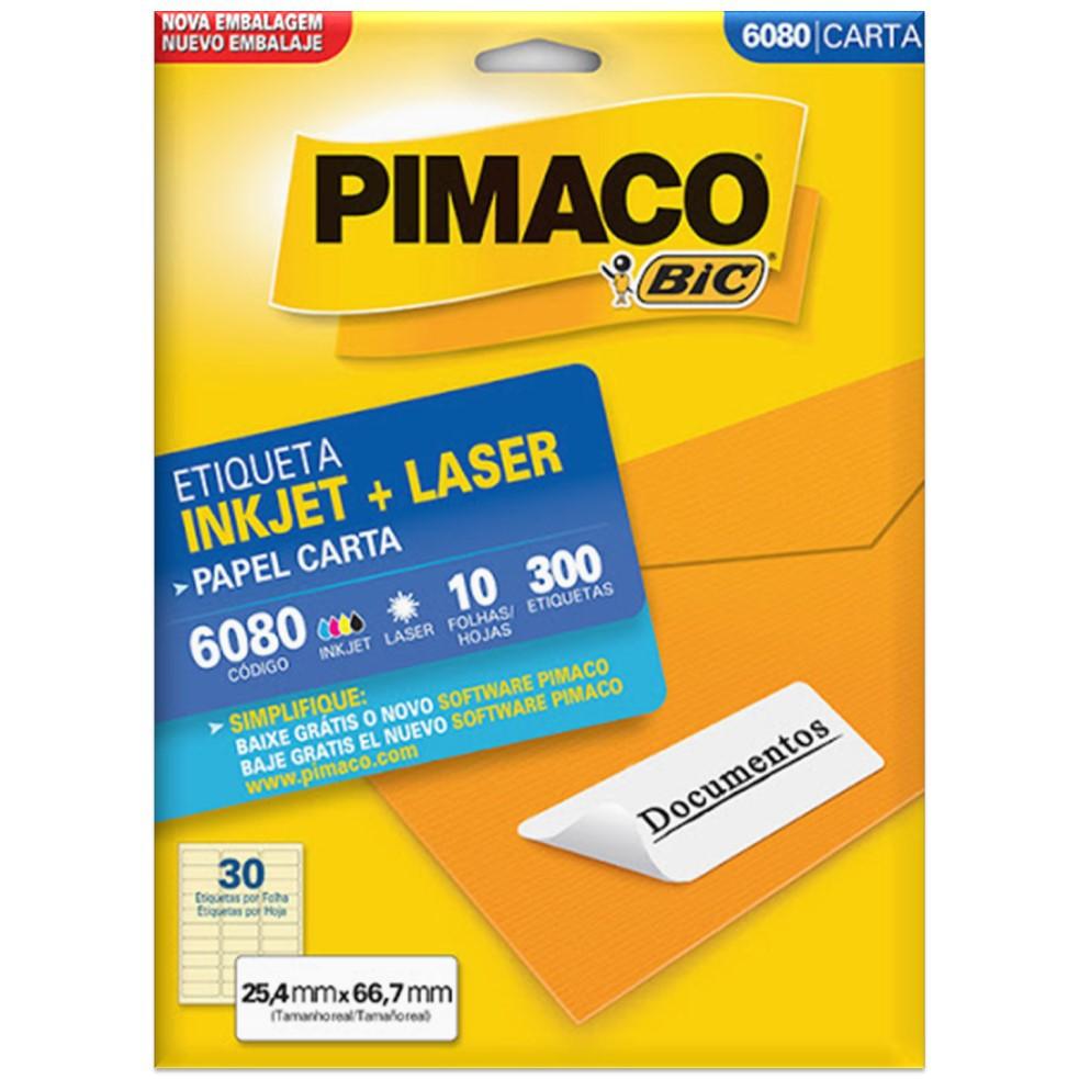 ETIQUETA PIMACO 6080 INK-JET/LASER 25,4X66,7 C/300UN
