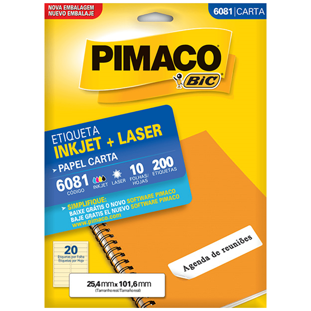 Etiqueta Pimaco 6081 Ink-Jet/Laser 25,4x101,6mm 200un