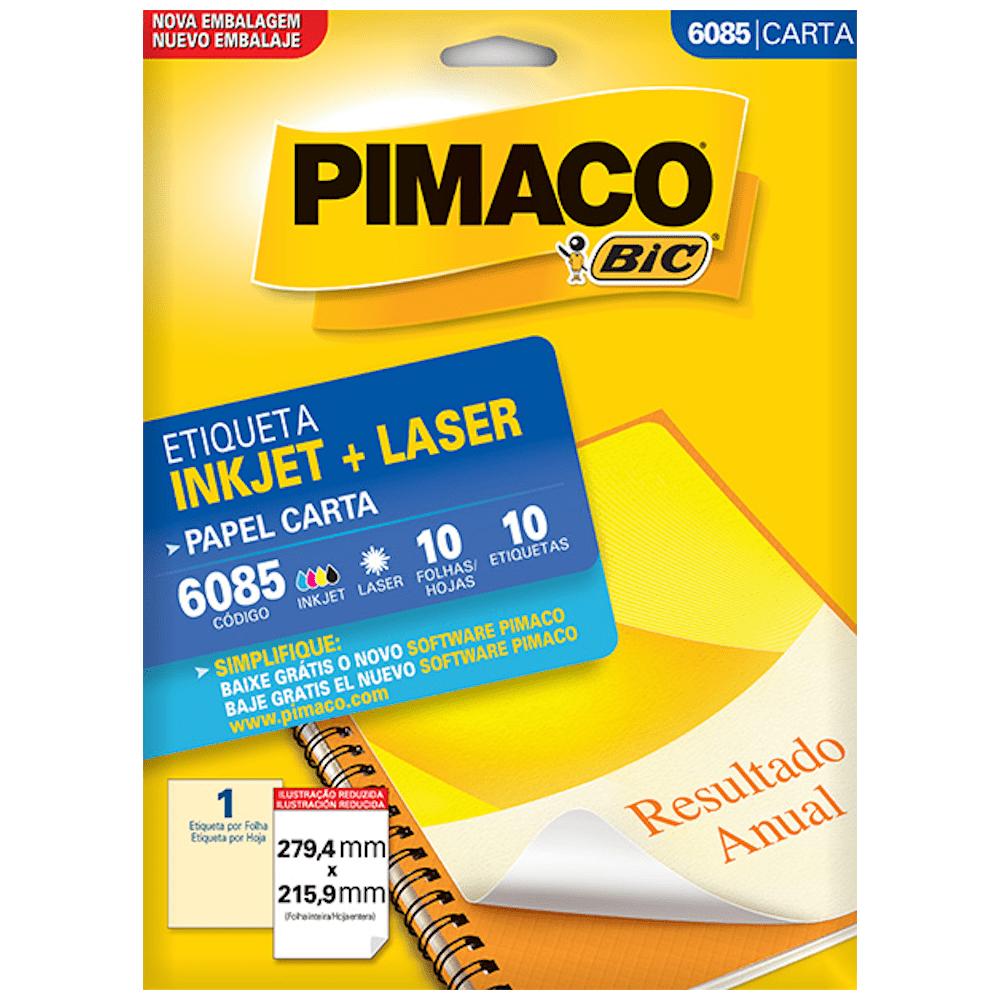 Etiqueta Pimaco 6085 Ink-Jet/Laser 279,4x215,9mm 10un