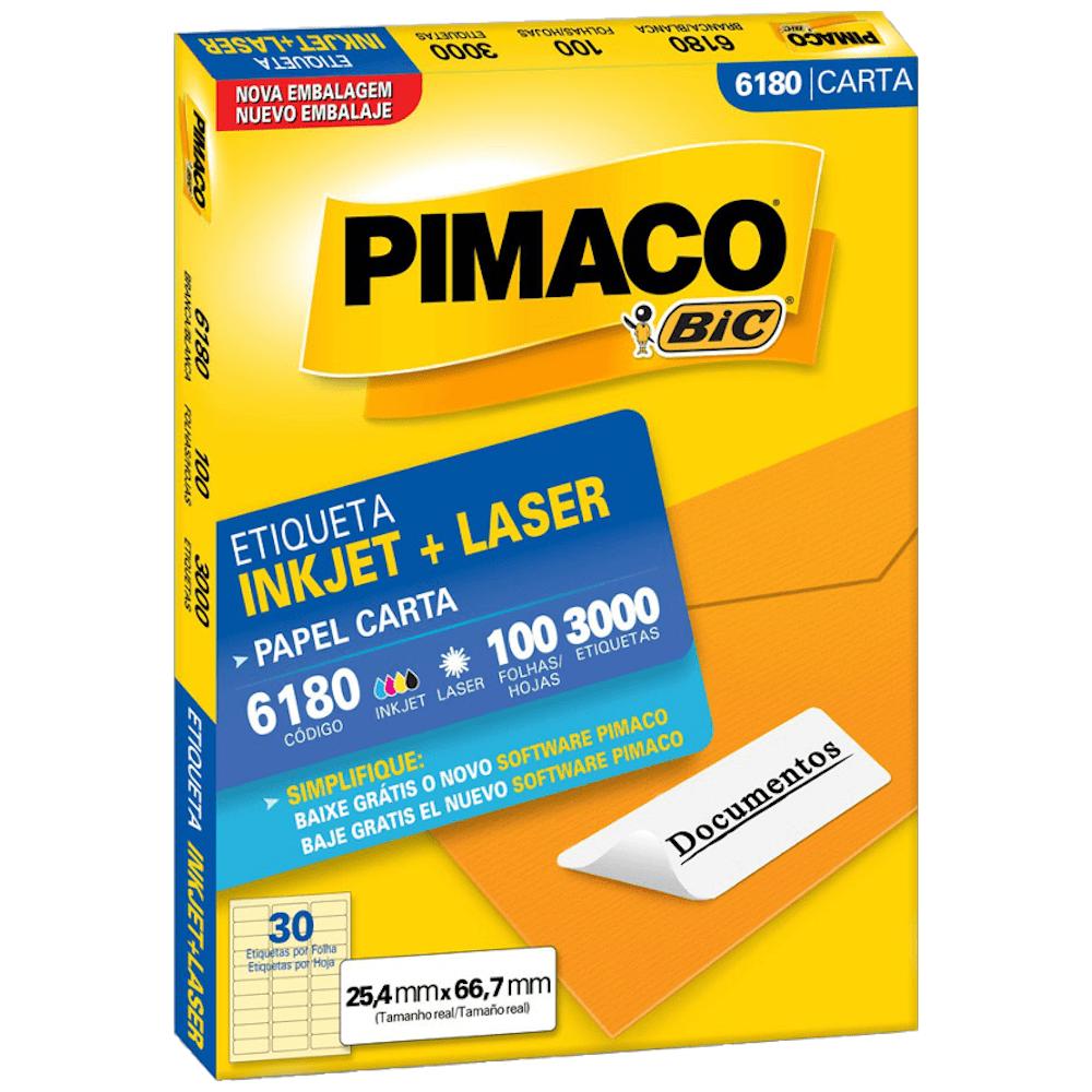 Etiqueta Pimaco 6180 Ink-Jet/Laser 25,4x66,7mm 3000un