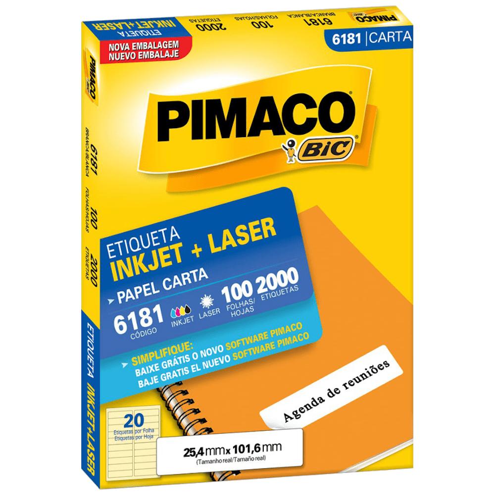 Etiqueta Pimaco 6181 Ink-Jet/Laser 25,4x101,6mm 2000un