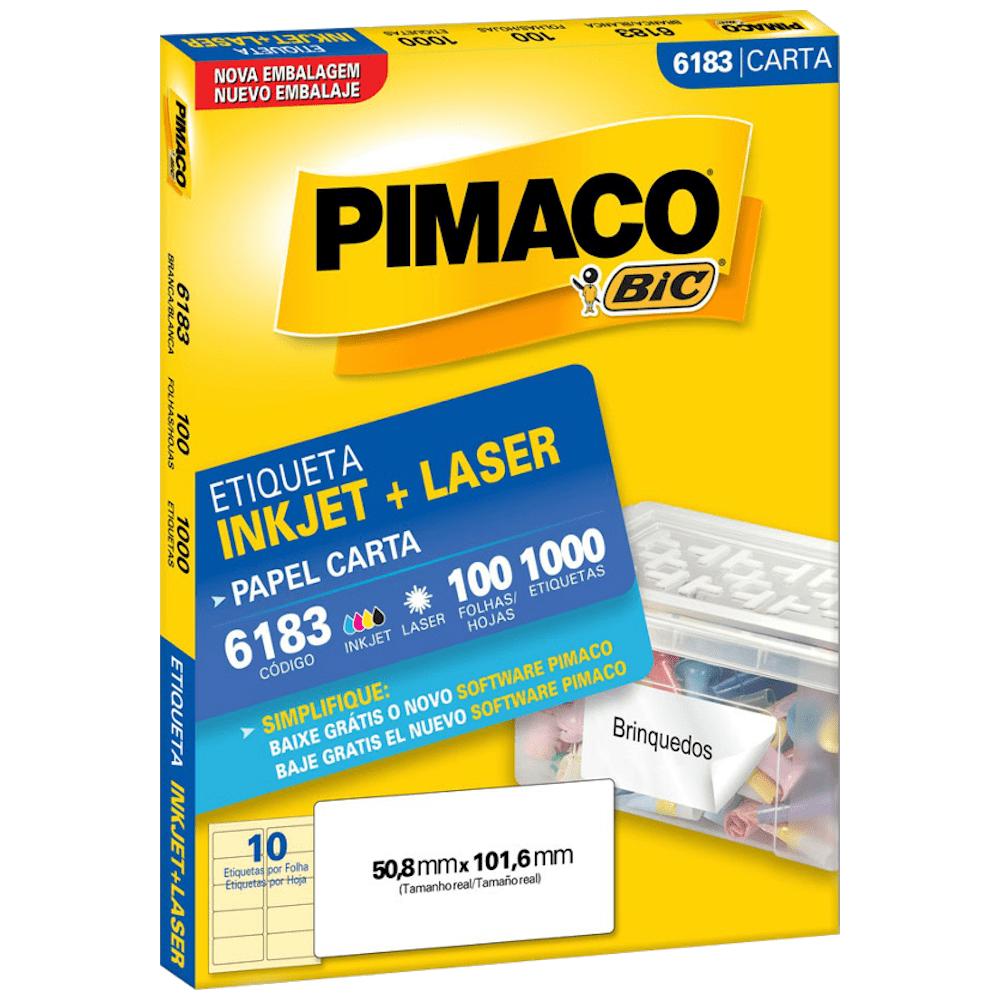 Etiqueta Pimaco 6183 Ink-Jet/Laser 50,8x101,6mm 1000un
