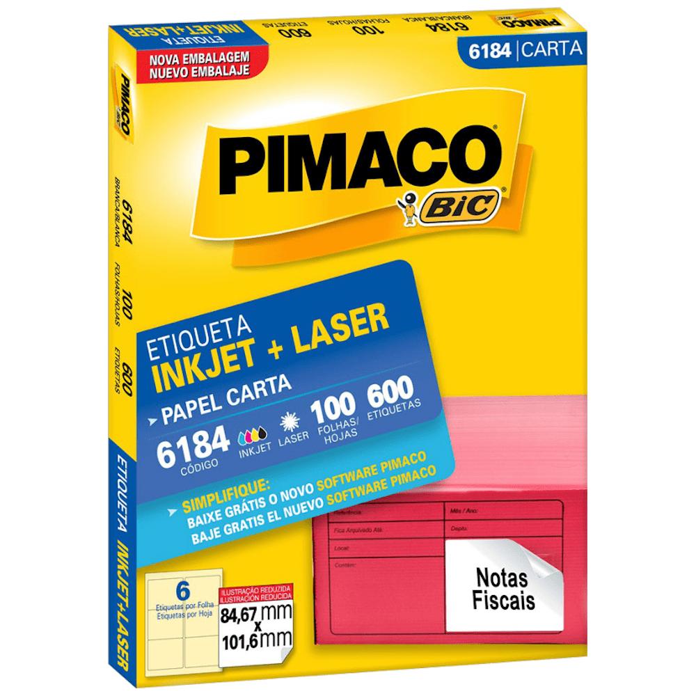 Etiqueta Pimaco 6184 Ink-Jet/Laser 84,67x101,6mm 600un