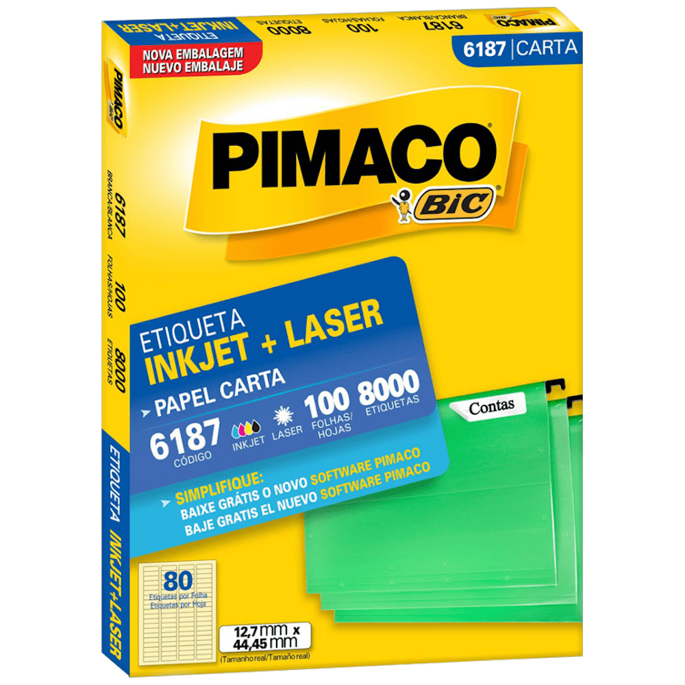 Etiqueta Pimaco 6187 Ink-Jet/Laser 12,7x44,45mm 8000un
