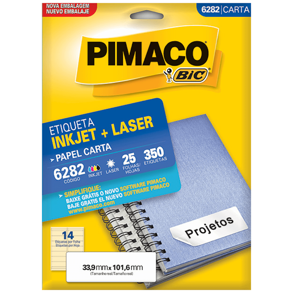 Etiqueta Pimaco 6282 Ink-Jet/Laser 33,9x101,6mm 350un
