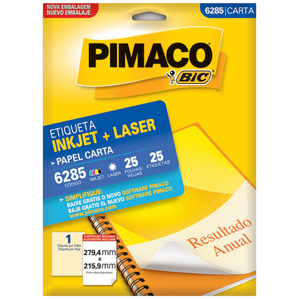 Etiqueta Pimaco 6285 Ink-Jet/Laser 279,4x215,9mm 25un