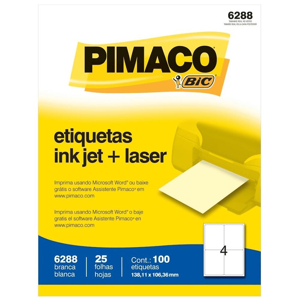 Etiqueta Pimaco 6288 Ink-Jet/Laser 138,11x106,36mm 100un