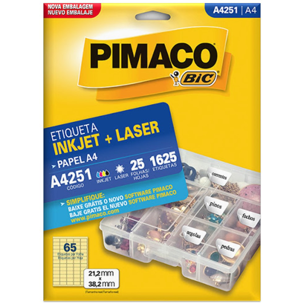 ETIQUETA PIMACO A4251 INK-JET/LASER 21,2X38,2MM C/1625UN