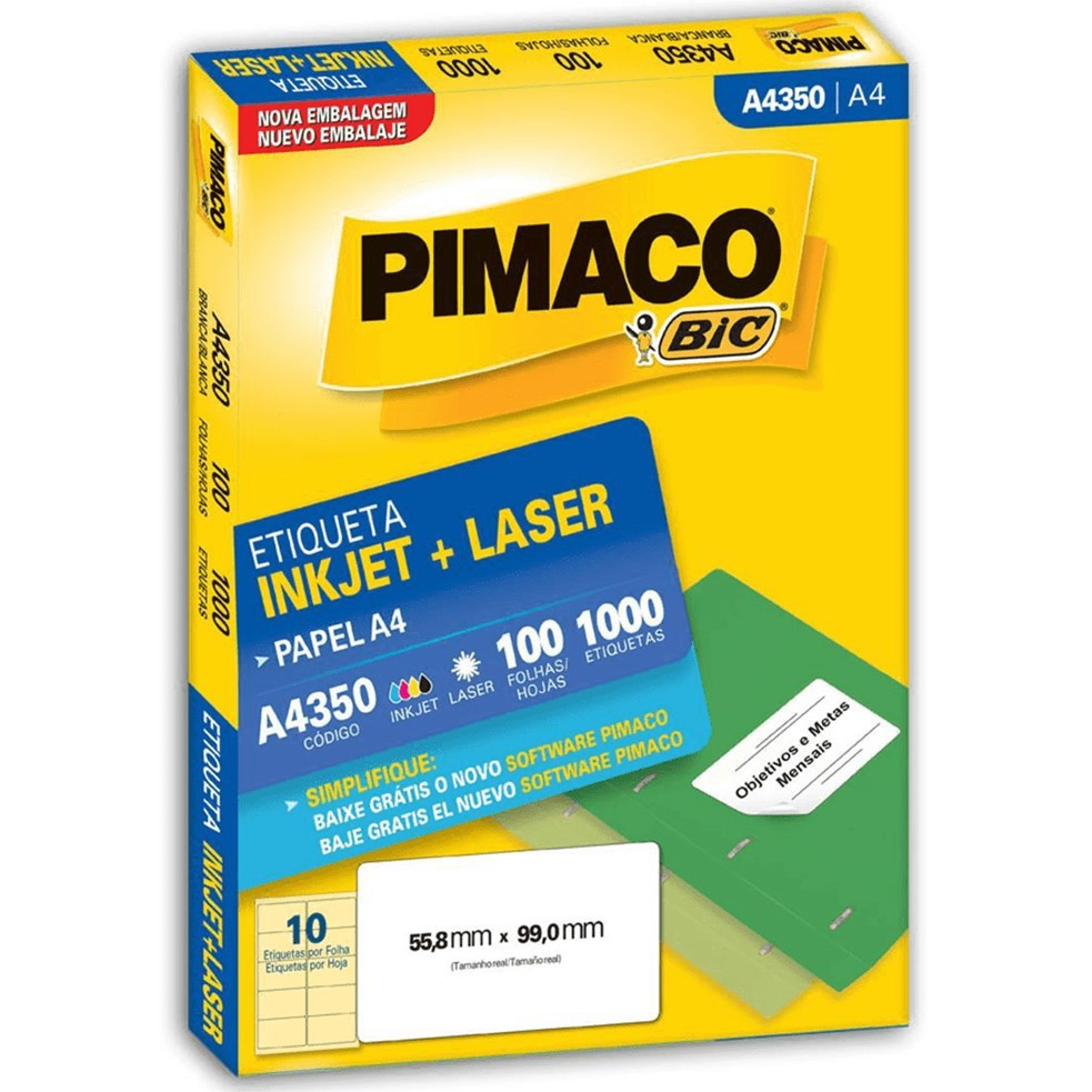 ETIQUETA PIMACO A4350 INK-JET/LASER 99,0X55,8MM C/1000UN