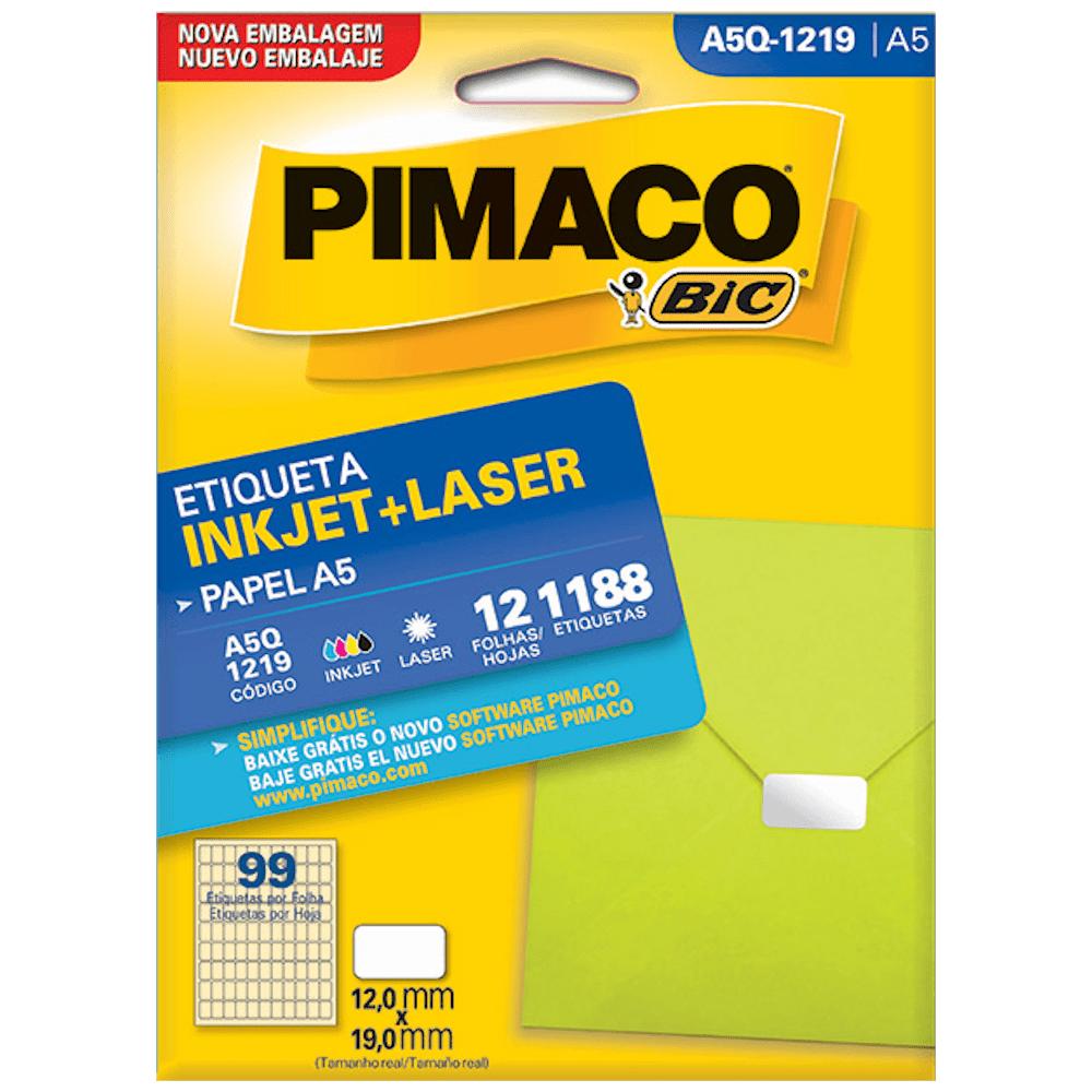 Etiqueta Pimaco A5Q-1219 Ink-Jet/Laser 12,0x19,0mm 1188un