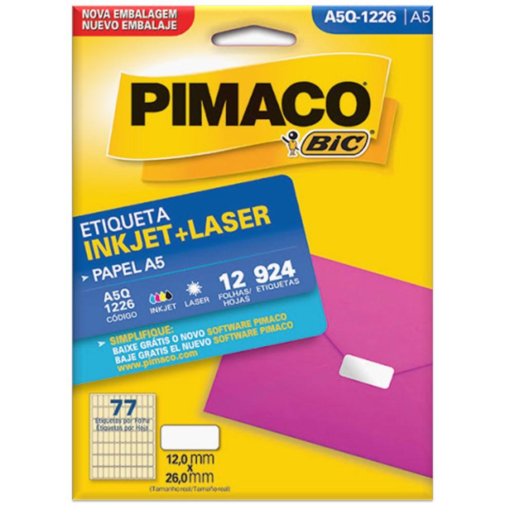 ETIQUETA PIMACO A5Q-1226 INK-JET/LASER 12X26MM C/924UN
