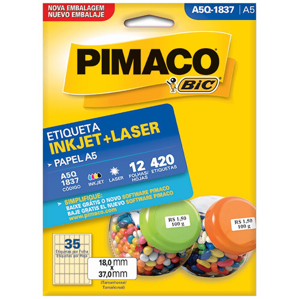 Etiqueta Pimaco A5Q-1837 Ink-Jet/Laser 18,0x37,0mm 420un