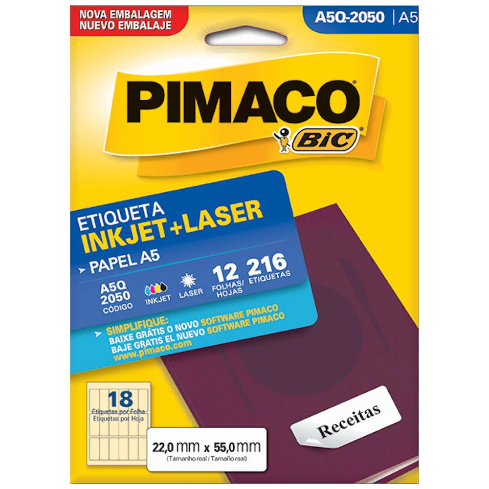 Etiqueta Pimaco A5Q-2050 Ink-Jet/Laser 22,0x55,0mm 216un