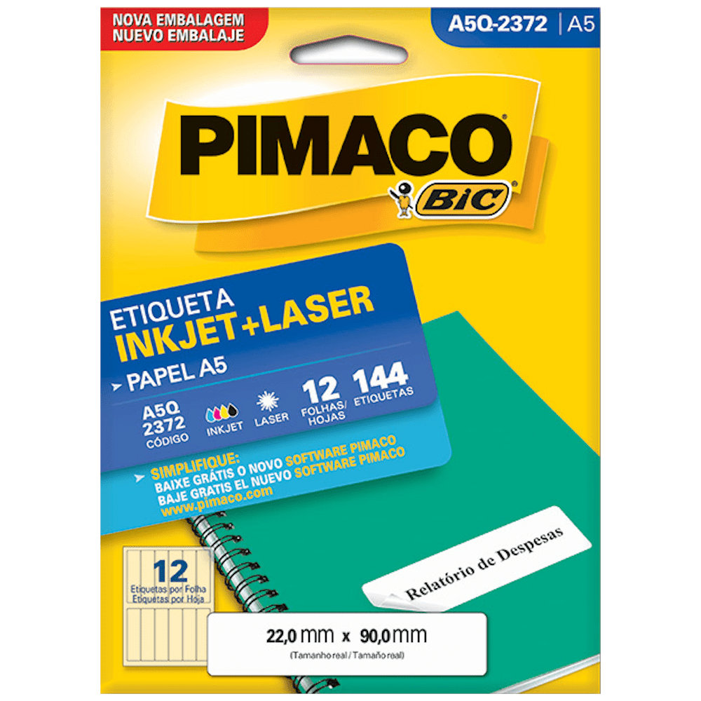 Etiqueta Pimaco A5Q-2372 Ink-Jet/Laser 22,0x90,0mm 144un