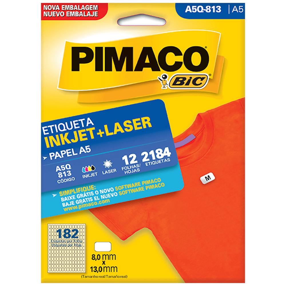 Etiqueta Pimaco A5Q-813 Ink-Jet/Laser 8,0x13,0mm 2184un