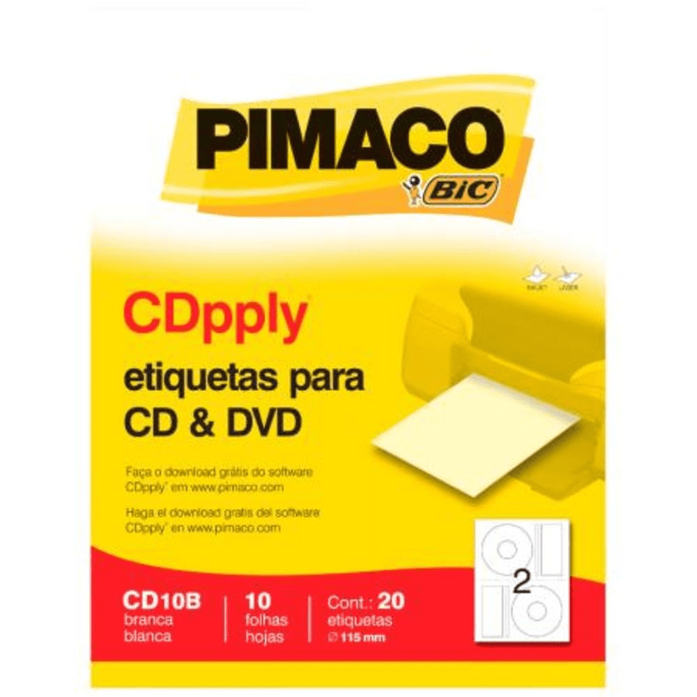Etiqueta Pimaco CD10B CDPPLY CD/DVD 115mm 20un