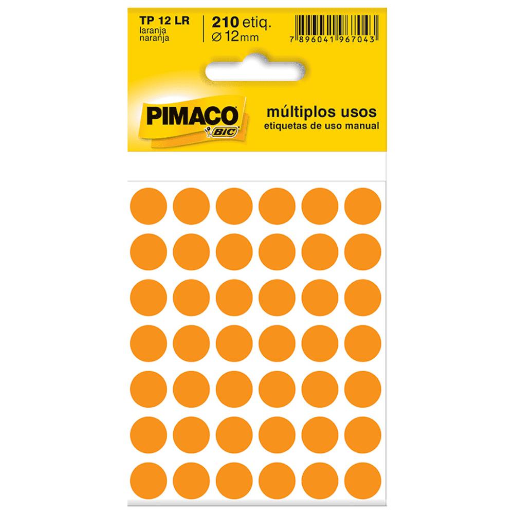 Etiqueta Pimaco TP12 Codificação Laranja 12mm 210un