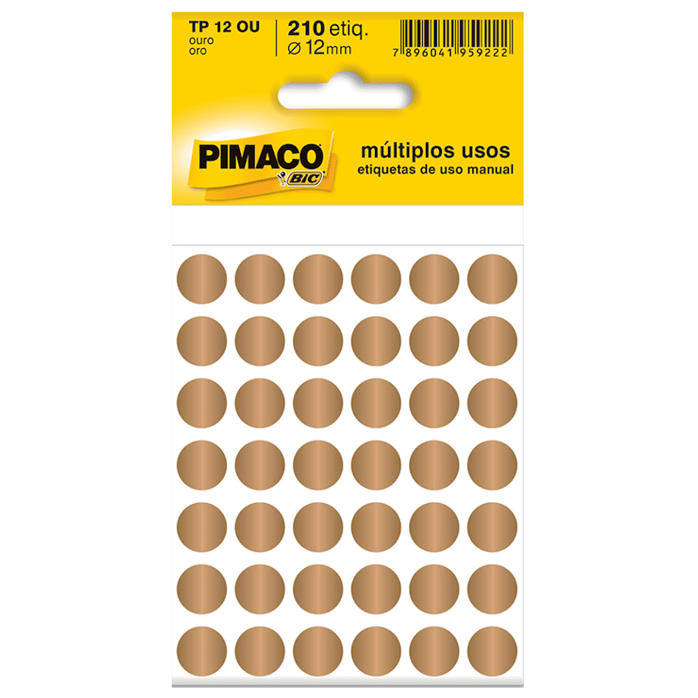 Etiqueta Pimaco TP12 Codificação Ouro 12mm 210un