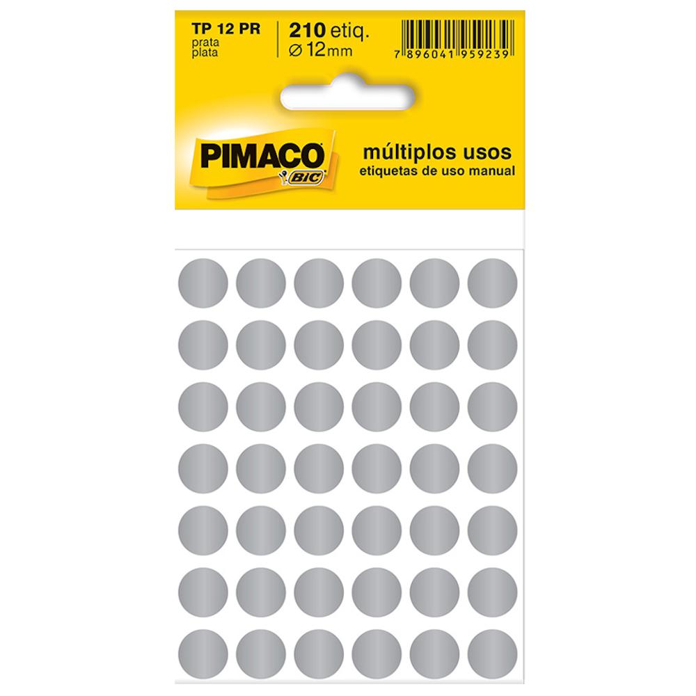 Etiqueta Pimaco TP12 Codificação Prata 12mm 210un