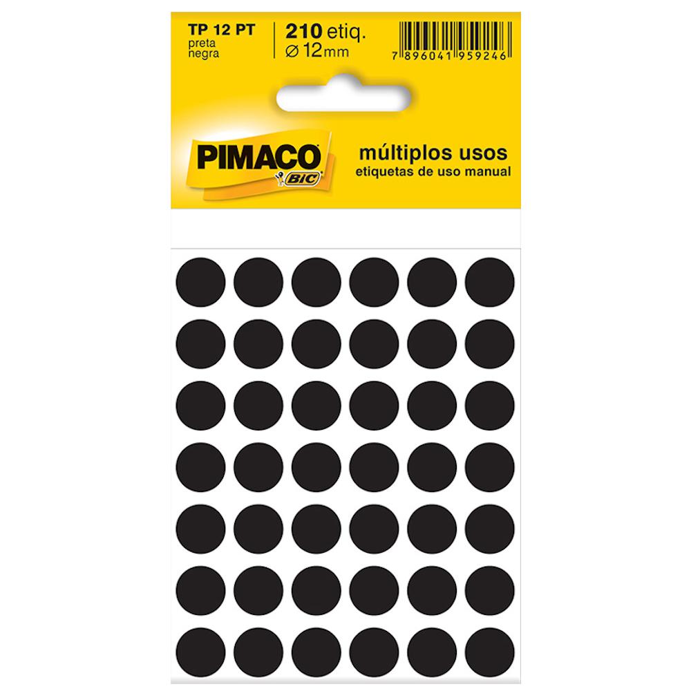 Etiqueta Pimaco TP12 Codificação Preta 12mm 210un