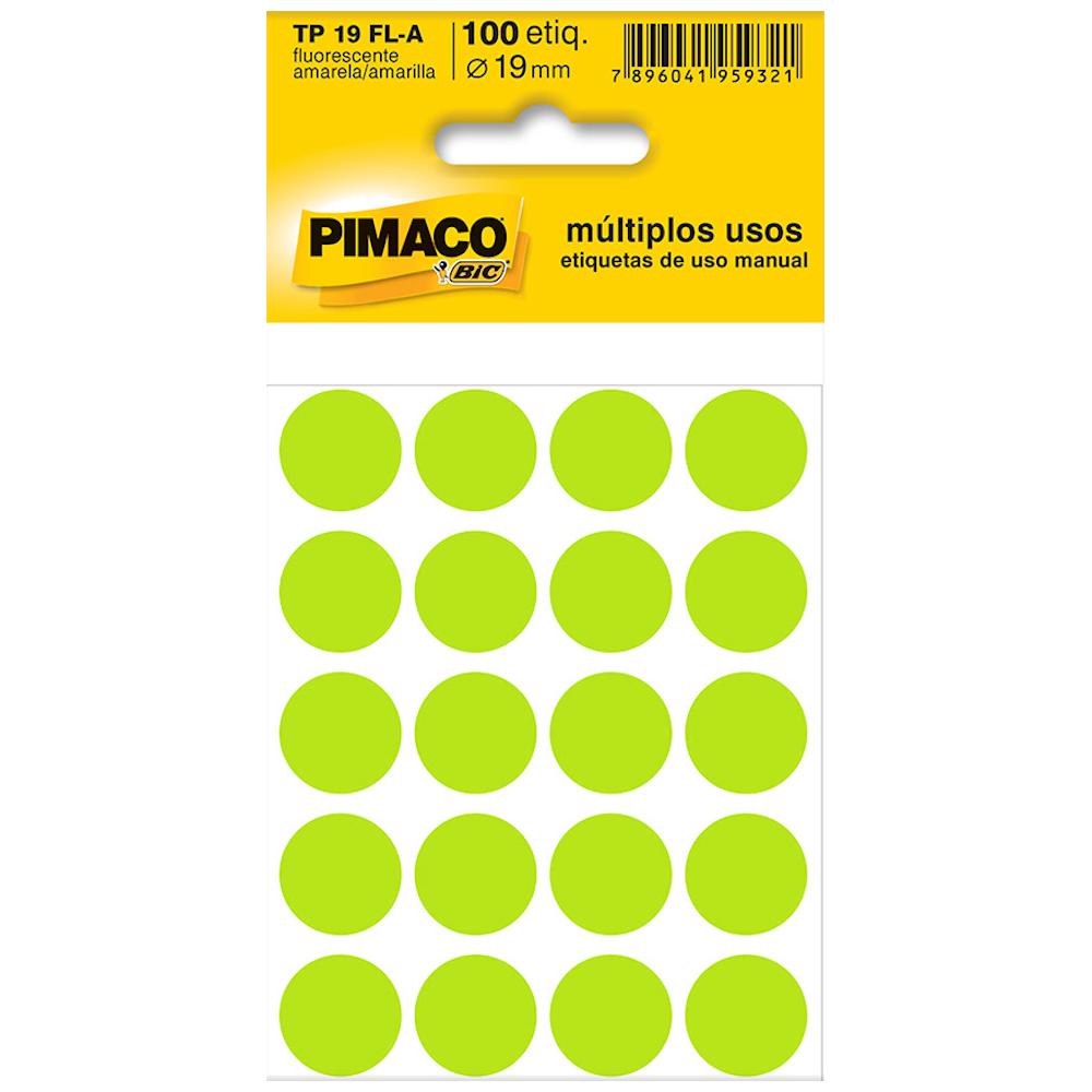 Etiqueta Pimaco TP19 Codificação Amarela Fluorescente 19mm 100un