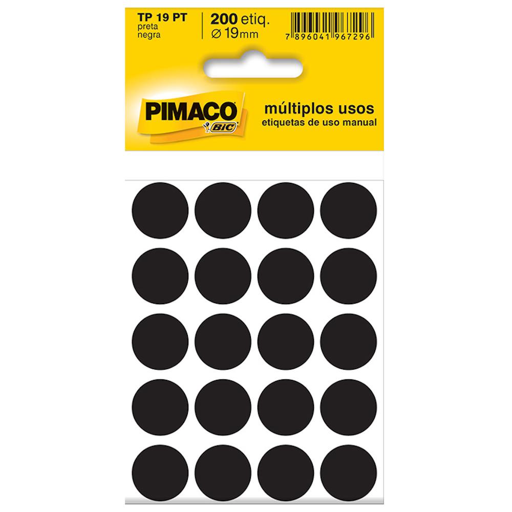 Etiqueta Pimaco TP19 Codificação Preta 19mm 200un