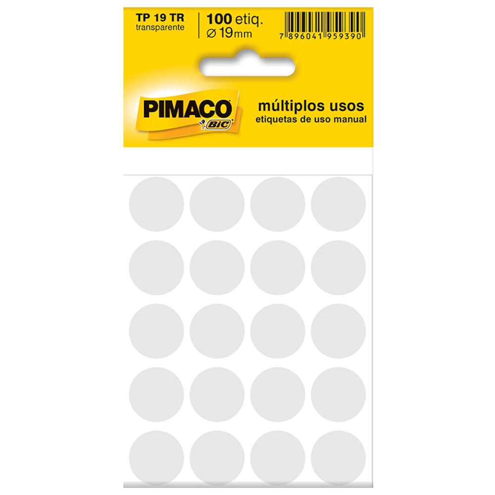 Etiqueta Pimaco TP19 Codificação Transparente 19mm 100un