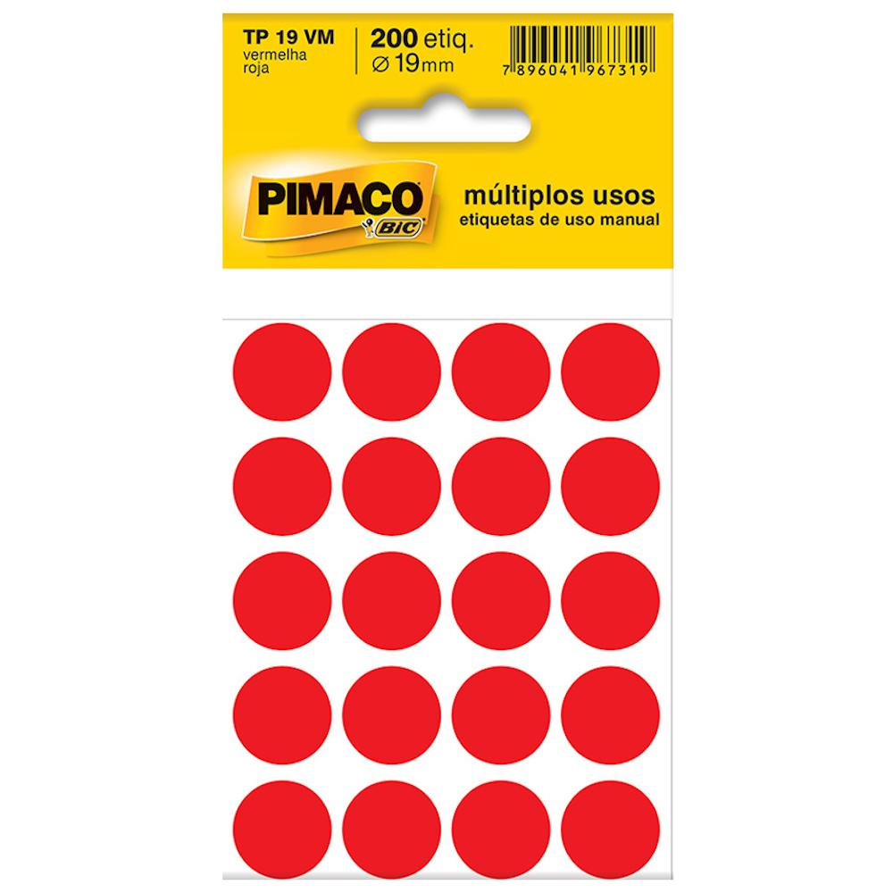 Etiqueta Pimaco TP19 Codificação Vermelho 19mm 200un