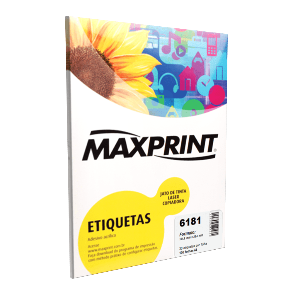 Etiquetas Adesivas Maxprint 6180 Inkjet/Laser Carta com 100 Folhas 49216-6