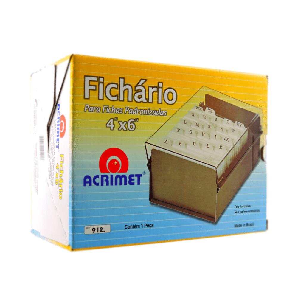FICHÁRIO BASE METAL/ACRILICO ACRIMET 4X6 FUME C/INDICE 922.1