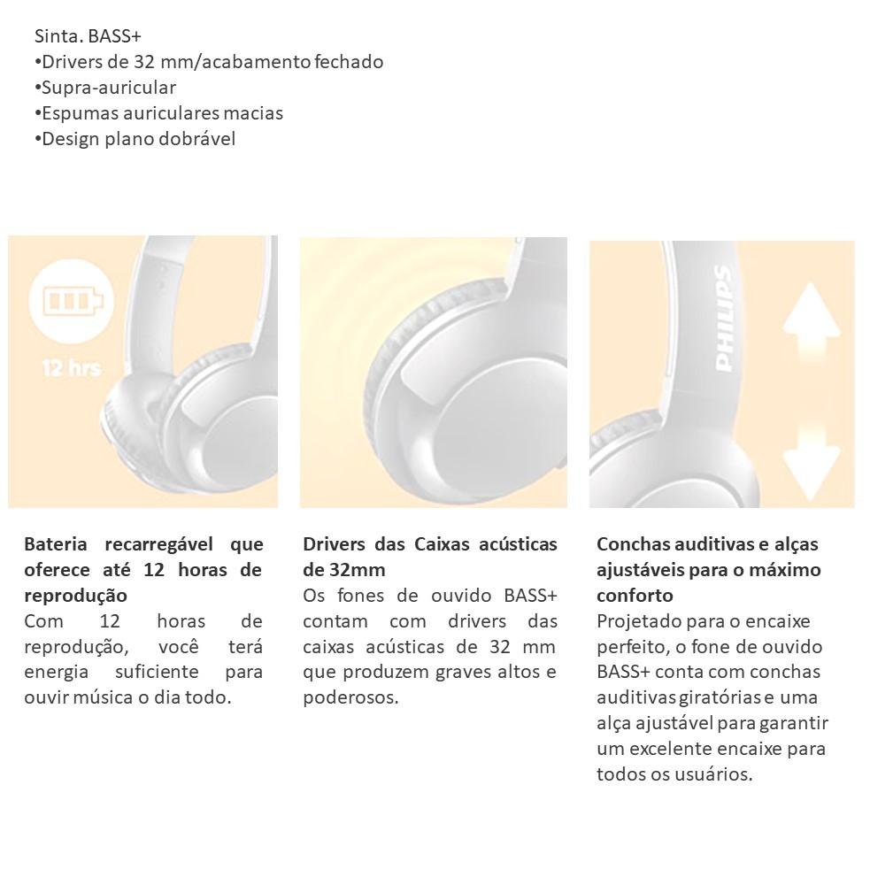 Headphone Philips Bass Shb3075wt S/Fio Branco