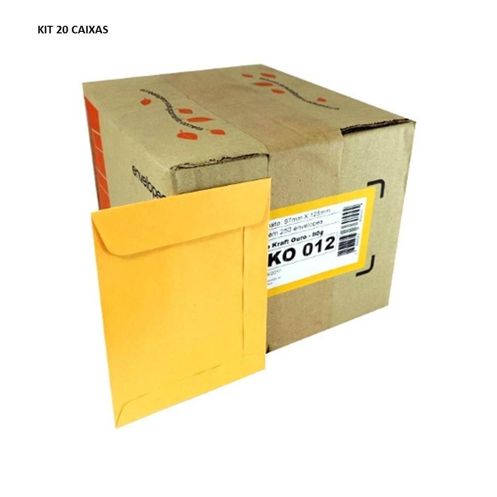 KIT 20 CX ENVELOPE SACO SCRITY 0,97X125MM OURO 80G C/250 SKO012