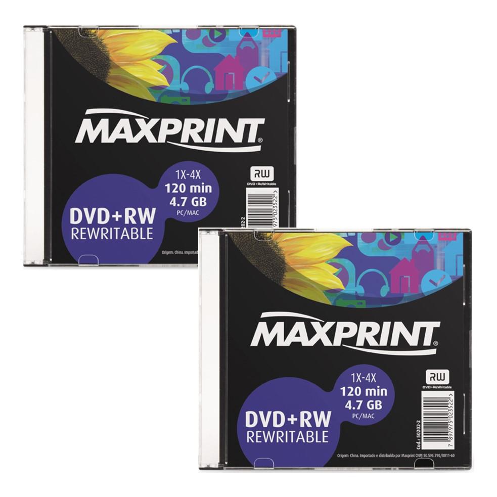 KIT 2 UNDS DVD+RW MAXPRINT 4.7GB 1X-4X 120M REGRAVAVEL SLIM 502022