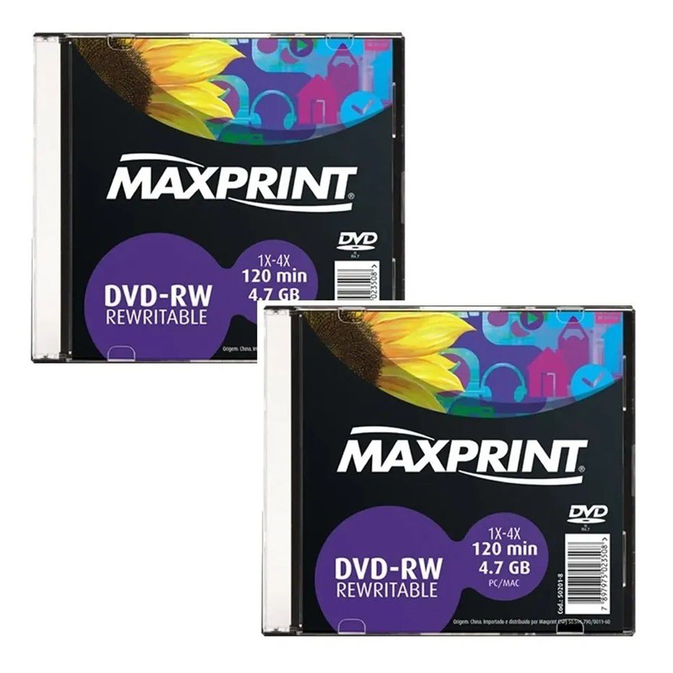 Kit DVD-RW Maxprint 4.7GB 1X-4X 120Min Regravável Slim 50201-8 2 unidades