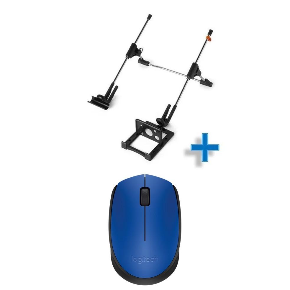 Kit Mouse Wireless Azul Logitech E Suporte Para Notebook