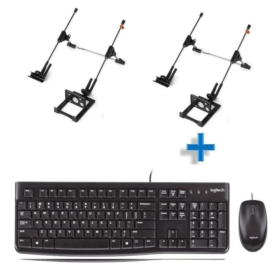 Kit Wired Teclado/Mouse MK120 Preto Logitech e 2 Suporte Notebook G4 Mutabis Cromado