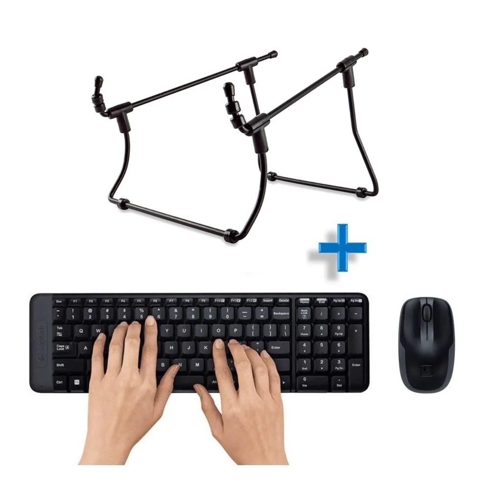 Kit Teclado/Mouse Sem Fio Logitech E Suporte Para Notebook Reliza Preto