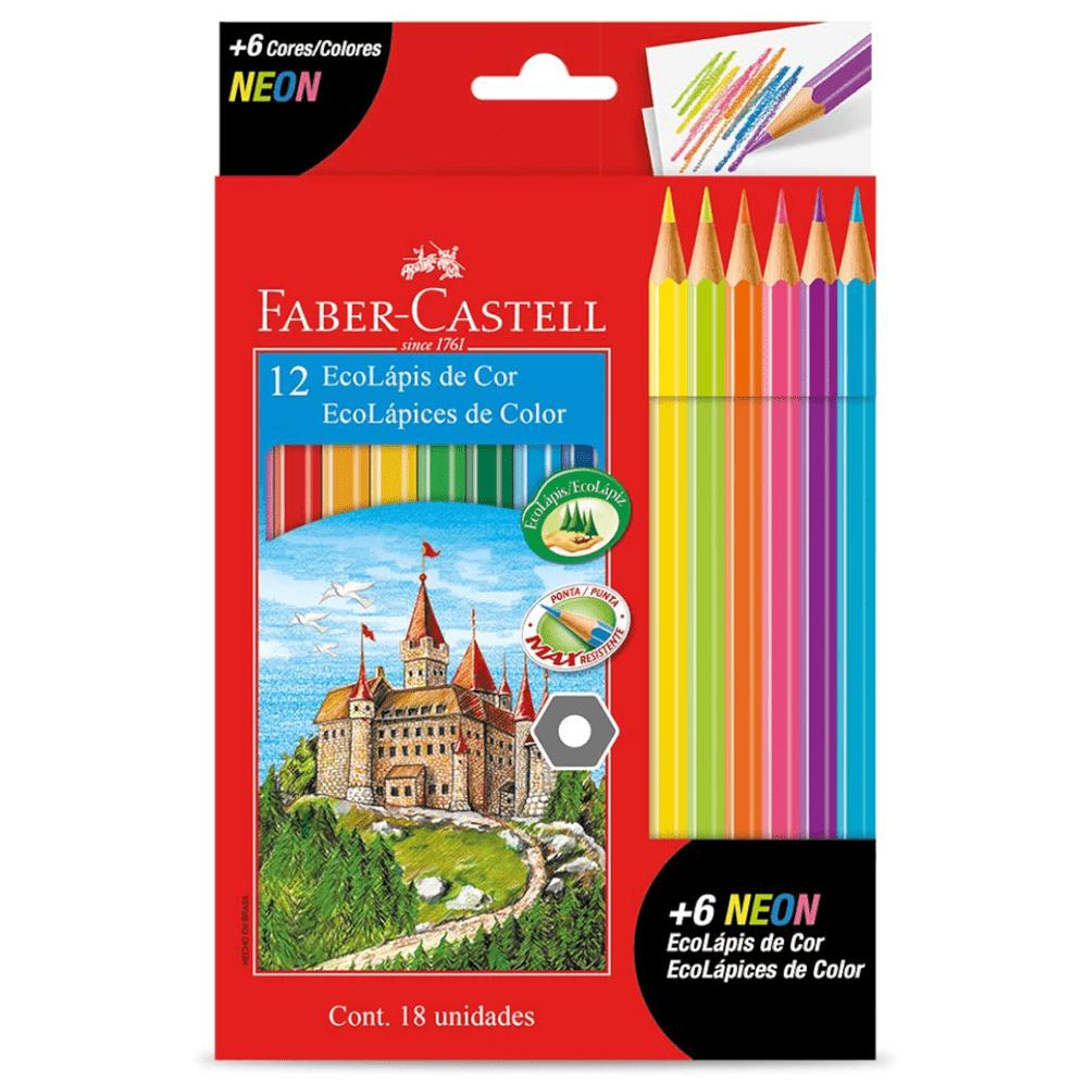Lápis de Cor 12 Cores + 6 Cores Neon Faber Castell