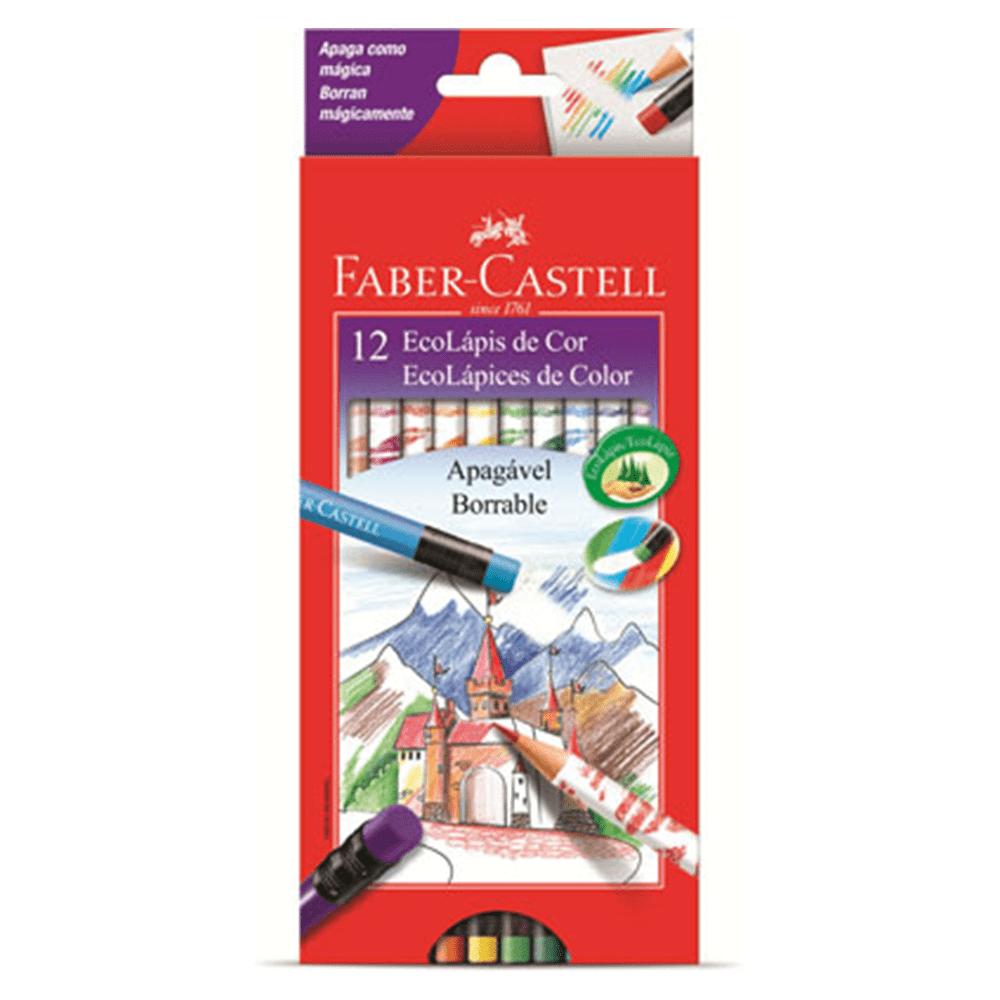 Lápis de Cor 12 Cores Apagável Borracha Faber Castell
