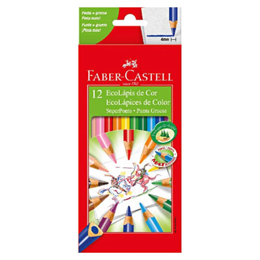 Lápis de Cor 12 Cores Super Ponta Triangular Faber Castell